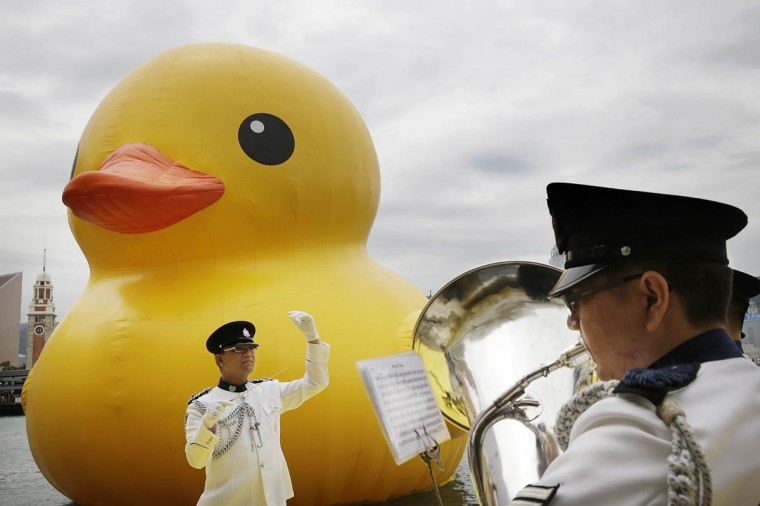 "Dutch conceptual artist, Florentijin Hofman's Floating duck sculpture called ""Spreading Joy Around the World"", is given a welcome ceremony by the Hong Kong Police band as it is moved to the South Side of Ocean Terminal, Victoria Harbour, on May 2, 2013 in Hong Kong. (Jessica Hromas/Getty Images)"