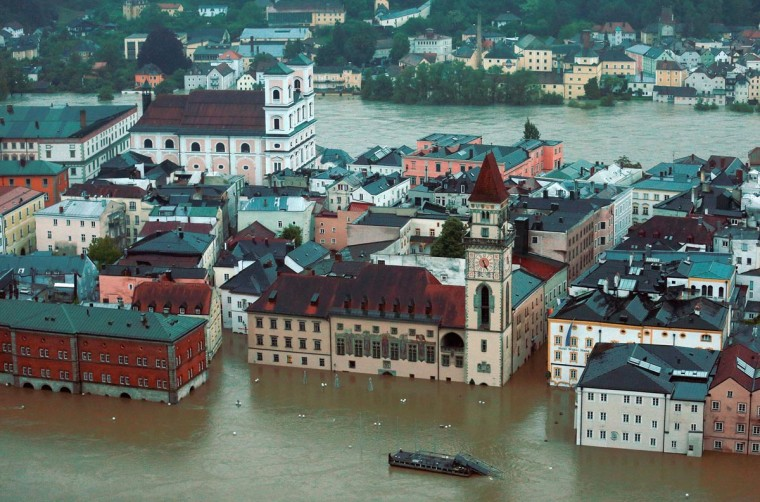 General view of Passau, flooded by the rising River Danube on June 3, 2013 in Passau, Lower Bavaria, Germany. Heavy rains across portions of Germany are causing flooding and ruining crops.(Johannes Simon/Getty Images)