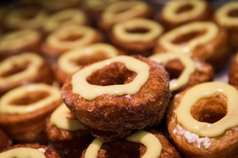 "A tray of croissant-doughnut hybrids, known ""cronuts"", are seen at Dominique Ansel Bakery on June 10, 2013 in New York City. The bakery makes 200-250 of the cronuts daily, which have been in hot demand since they were introduced in May. (Andrew Burton/Getty Images)"
