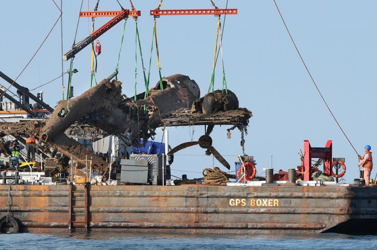 A World War II Dornier 17 aircraft is lifted from waters of the English Channel on June 10, 2013 near Ramsgate, England. The plane on the Goodwin Sands is believed to be aircraft call-sign 5K-AR, shot down on August 26, 1940 at the height of the battle by RAF Boulton-Paul Defiant fighters. Once recovered, the aircraft will be preserved and put on displayed for the public at the RAF Museum. (Peter Macdiarmid/Getty Images)
