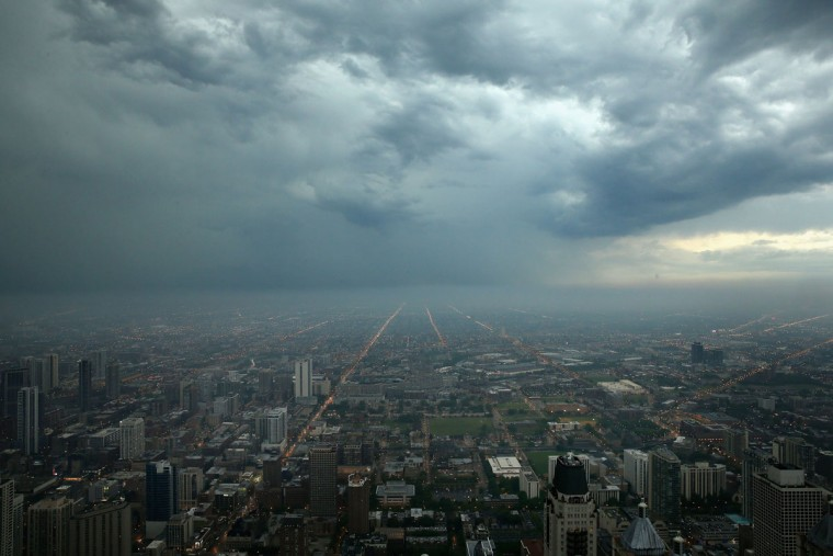 Storm clouds push toward downtown Chicago on June 12, 2013. (Scott Olson/Getty Images)