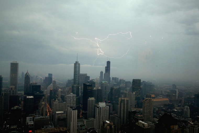 Lightning strikes above downtown Chicago on June 12, 2013. (Scott Olson/Getty Images)