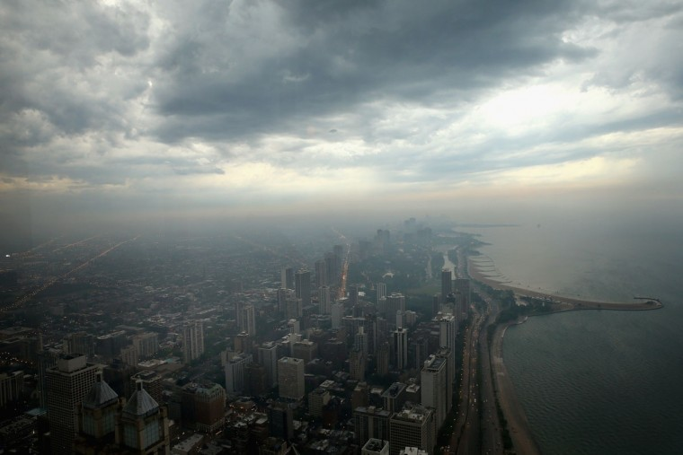 Storm clouds push into Chicago's lakefront on June 12, 2013. (Scott Olson/Getty Images)