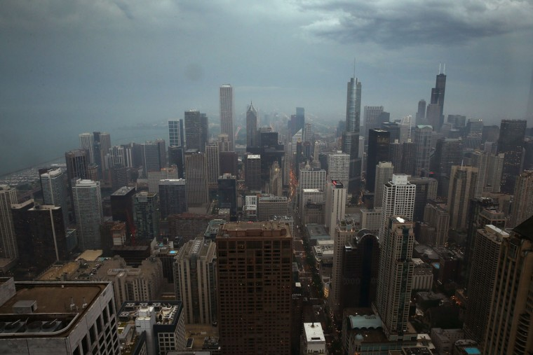 Storm clouds move into downtown Chicago on June 12, 2013. (Scott Olson/Getty Images)