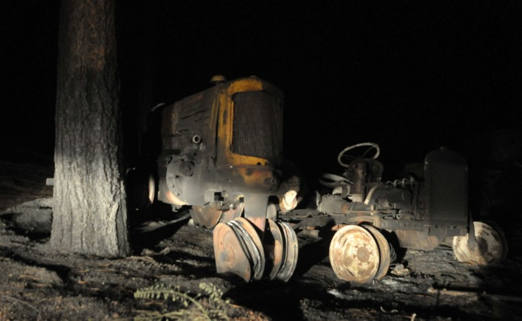 Farm equipment destroyed in a fire that's been burning since Tuesday near Colorado Springs is shown June 13, 2013 in Black Forest, Colorado. (Tom Cooper/Getty Images)