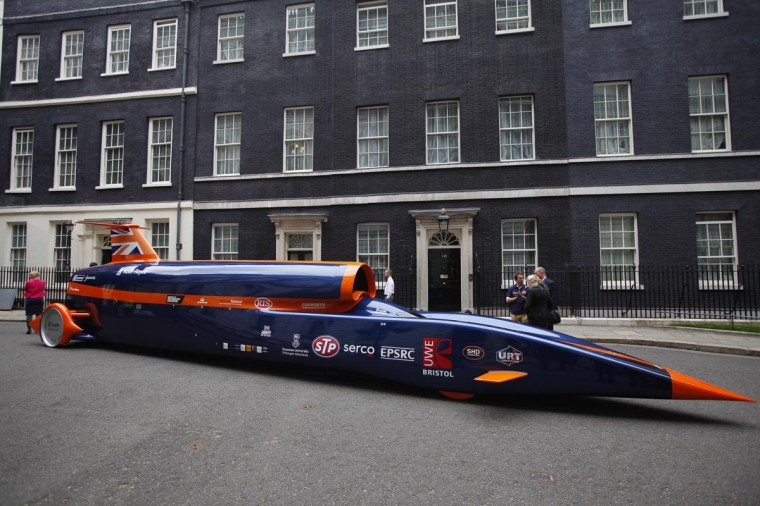 The Bloodhound Super Sonic Car is displayed at Downing Street on June 24, 2013 in London, England. Wing Commander Andy Green will be driving the Bloodhound SSC during a land speed record attempt in South Africa next year. (Dan Dennison/Getty Images)