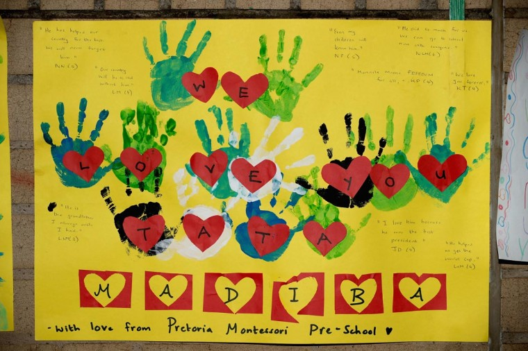 One of the dozens of hand-made messages of support for former South African President Nelson Mandela posted to the wall outside the Mediclinic Heart Hospital June 25, 2013 in Pretoria, South Africa. (Chip Somodevilla/Getty Images)