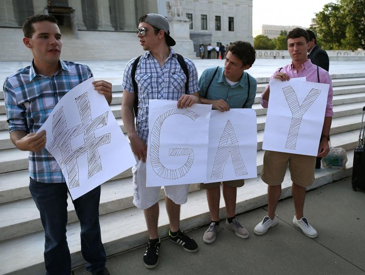 Gay rights activists gather in front of the U.S. Supreme Court building, June 26, 2013 in Washington DC. (Mark Wilson/Getty Images)