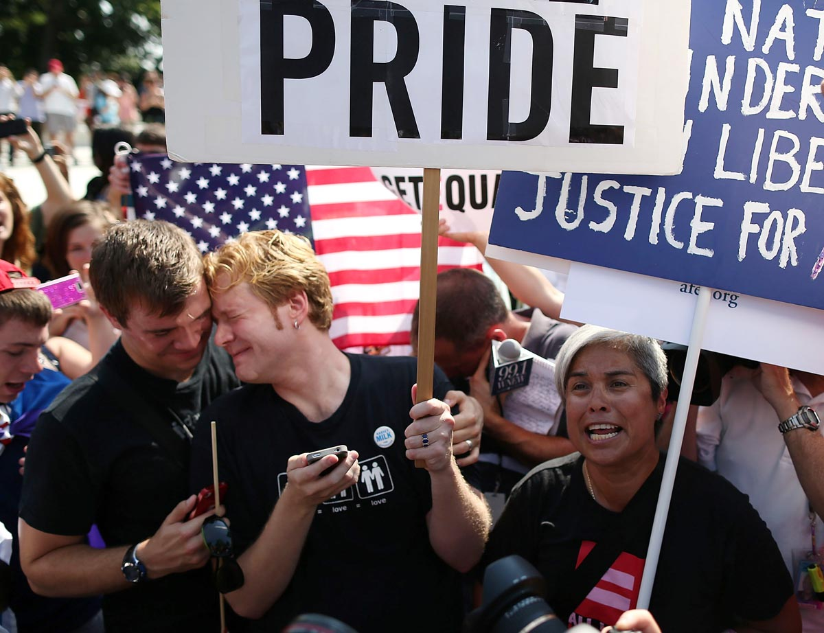 Gay marriage supporters react to DOMA, Prop 8 Supreme Court decisions