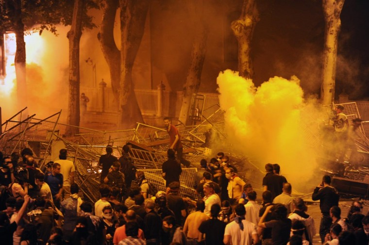 Protestors clash with riot police near the Taksim Gezi park in Istanbul, on June 1, 2013, during a demonstration against the demolition of the park. (Bulent Kilic/AFP/Getty Images)