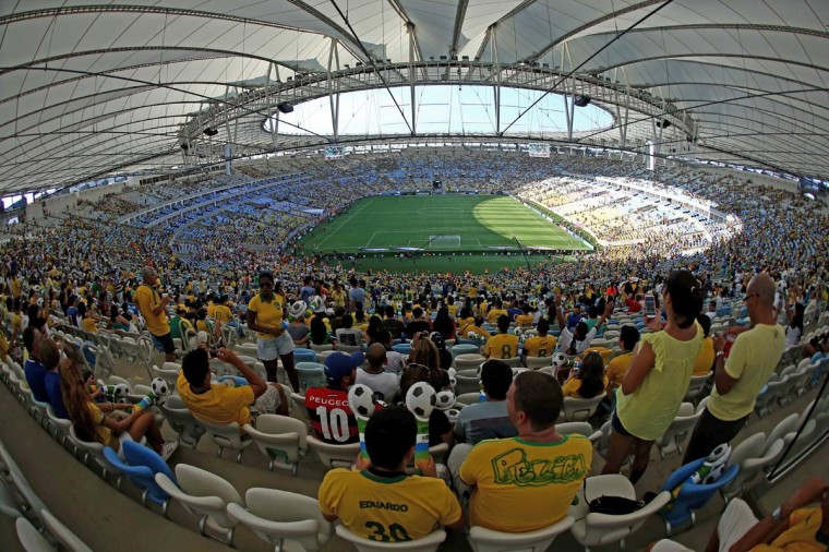 "A general view of the newly-renovated Mario Filho ""Maracana"" stadium before a friendly football match between Brazil and England in Rio de Janeiro, Brazil on June 2, 2013. (Andrey Heuler/AFP/Getty Images)"