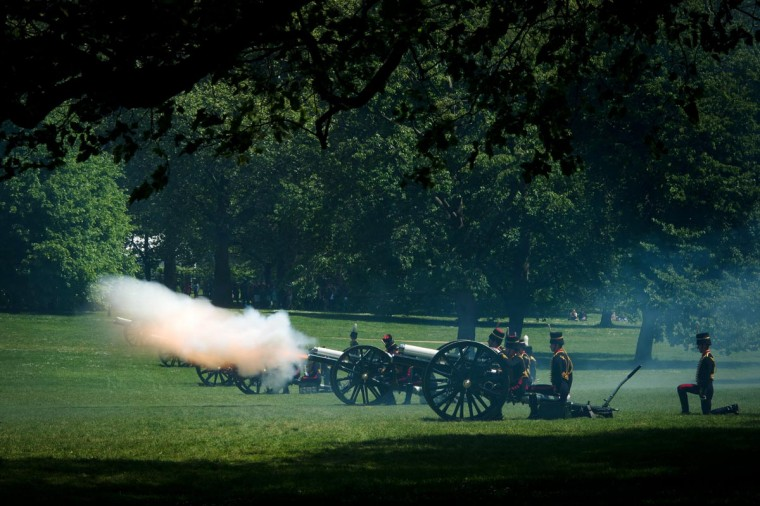Members of the King's Troop Royal Horse Artillary fire a 41 gun salute in Green Park in central London on June 3, 2013 in honor of the 60th anniversary of the coronation of Britain's Queen Elizabeth II. (Leon Neal/AFP/Getty Images)