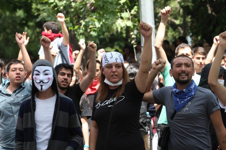 Protesters shout anti-government slogans during a demonstration in Ankara on June 3, 2013 after days of protests against the Islamic-rooted government. (Adem Altan/AFP/Getty Images)