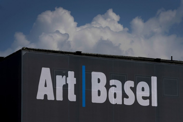 The sign of Art Basel is seen on June 11, 2013 on a building in Basel before the opening of Art Basel 2013. (Fabrice Coffrini/AFP/Getty Images)