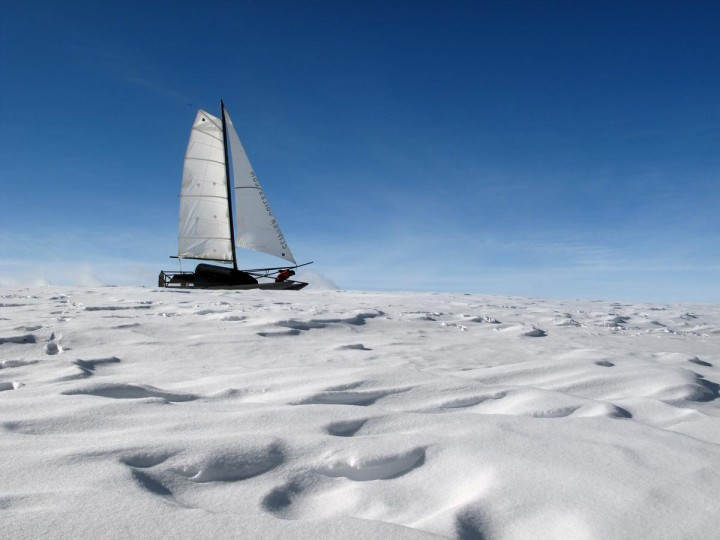 This photo released by Adrenaline Expedition and taken on January 26, 2013, in Aubrac, shows French adventurer Sebastien Roubinet riding a sailboat which glides on ice during a training session. Roubinet and another French explorer, Vincent Berthet, will begin in July, a three-month sports and science expedition from Alaska to the Svalbard archipelago, crossing the North Pole. (Handout Photo/AFP/Getty Images)