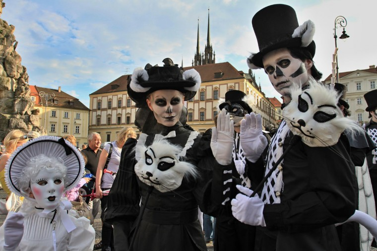 "Participants pose during the World Theatre Festival in Brno, Czech Republic. The theatre festival is part of the annual celebrations of the ""Brno - City in the Heart of Europe."" (Radek Mica/AFP/Getty Images)"