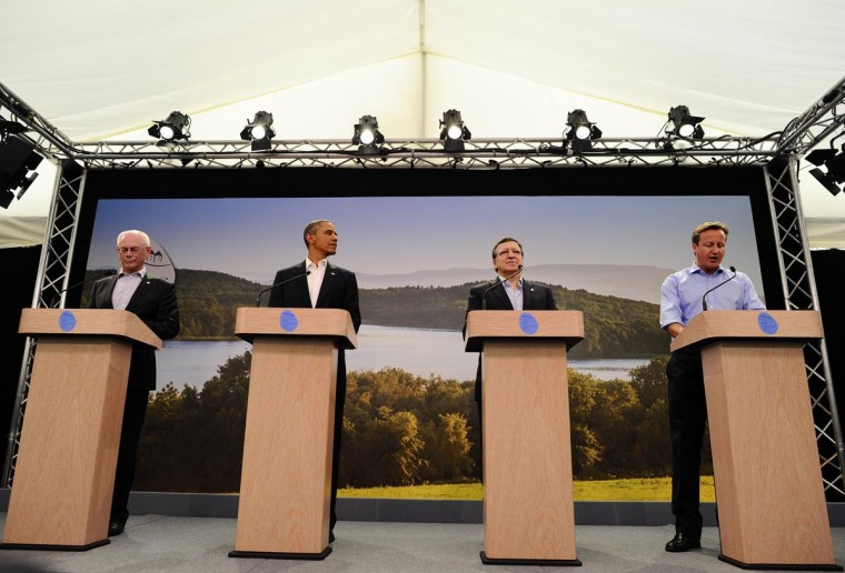U.S. President Barack Obama (2nd L) attends a news conference with (L-R) European Council President Herman Van Rompuy, European Commission President Jose Manuel Barroso and Britain's Prime Minister David Cameron at the G8 summit in Enniskillen, Northern Ireland, on June 17, 2013. The conflict in Syria was set to dominate the G8 summit starting in Northern Ireland on Monday, with Western leaders upping pressure on Russia to back away from its support for President Bashar al-Assad. (Jewel Samad/AFP/Getty Images)