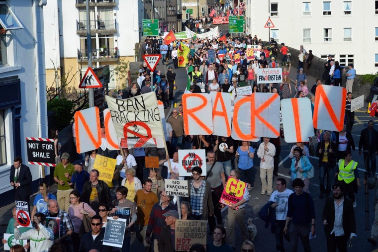 Protesters walk together from the center of Enniskillen in Northern Ireland on June 17, 2013 towards the security fences of the G8 Summit. (Paul Ellis/AFP/Getty Images)