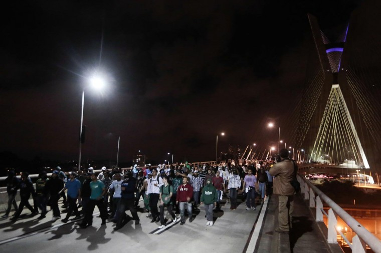 Students march during a protest at the Ponte Estaiada, in Sao Paulo, Brazil on June 17, 2013. (Miguel Schincariol/AFP/Getty Images)