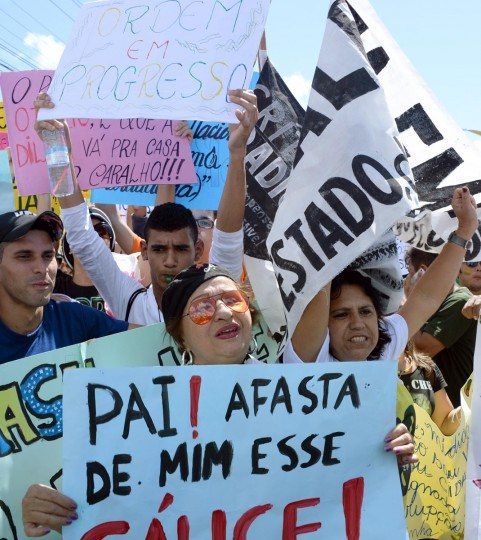 Protesters march in Fortaleza, Northern Brazil, on June 19, 2013 taking part in what is now called the 'Tropical Spring' against corruption and price hikes. (Vanderlei Almeida/AFP/Getty Images)