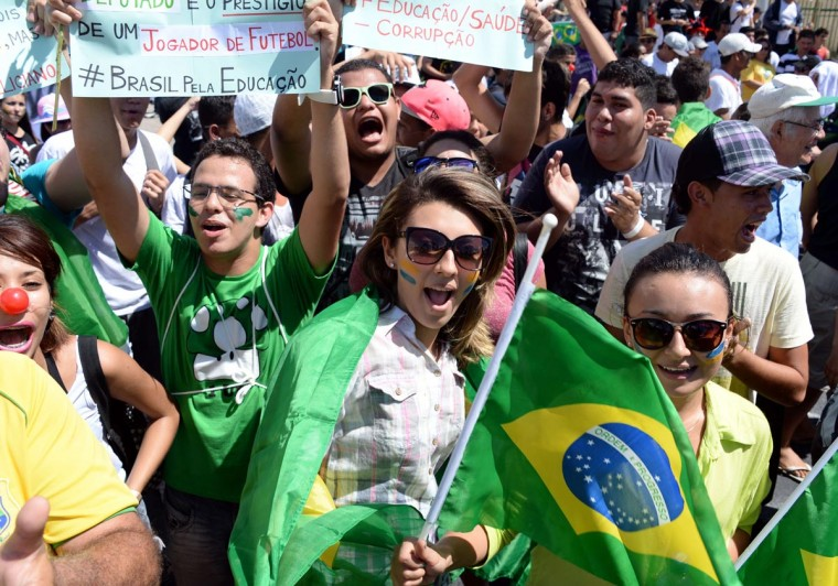 Young demonstrators march in Fortaleza, Northern Brazil, on June 19, 2013 during a protest of what is now called the 'Tropical Spring' against corruption and price hikes. (Vanderlei Almeida/AFP/Getty Images)