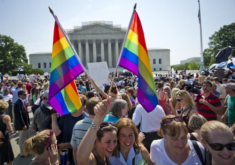 Hundreds of people gather outside the US Supreme Court building in Washington, DC on June 26, 2013 in anticipation of the ruling on DOMA and California's Proposition 8. (Mladen Antono/AFP/Getty Images)