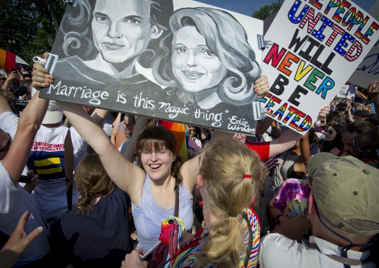 Gay marriage activists shout slogans outside the US Supreme Court building in Washington, DC on June 26, 2013 in reaction of the ruling on California's Proposition 8, the controversial ballot initiative that defines marriage as between a man and a woman. (Mladen Antono/AFP/Getty Images)