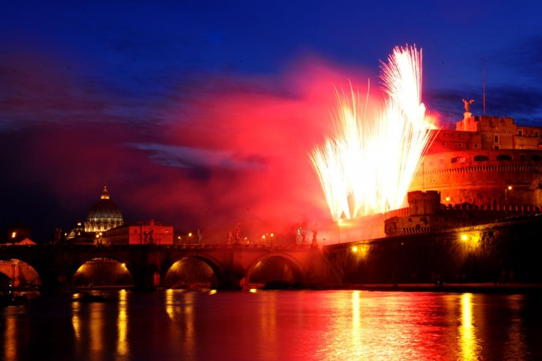 Fireworks light the sky at Castel Sant'Angelo in Rome to celebrate the patron Saints Peter and Paul on June 29, 2013. (Tiziana Fabi/AFP/Getty Images)