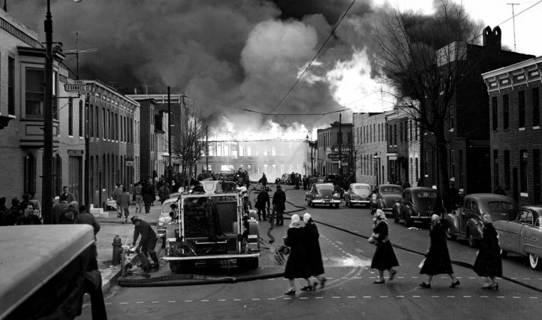 """The Start of 18 Alarms"" caught the early stages of the great conflagration that struck Canton on February 17, 1953. (Hans Marx/Baltimore Sun)"