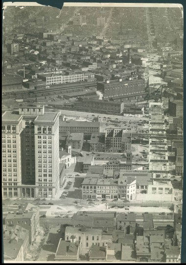 The Standard Oil building on St. Paul Street in Baltimore is seen in this aerial photo from 1935. (Baltimore Sun File Photo)