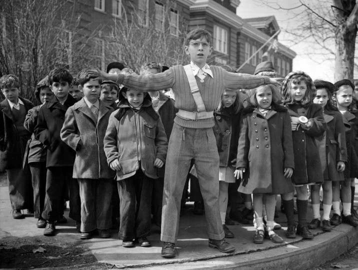 Children are supervised at street crossings, 1948. (Hans Marx/Baltimore Sun)