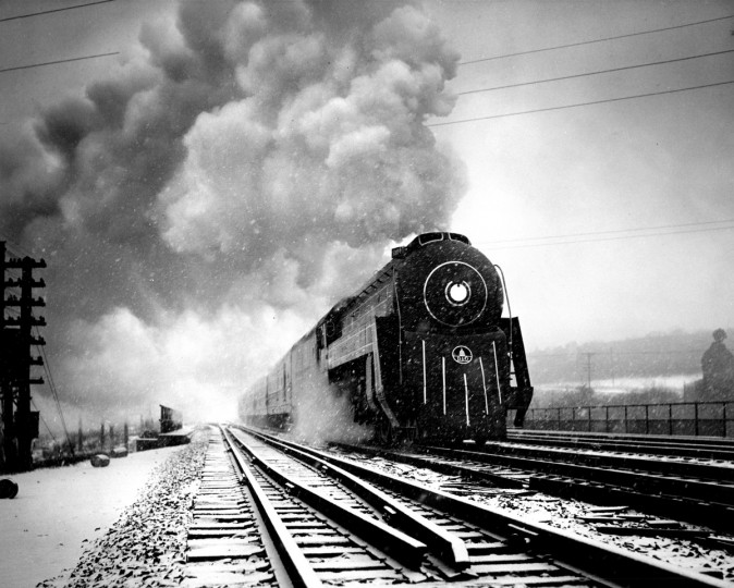 Symbolic of the dependability of the steam engine is this shot of a B. & O. steam locomotive in a snow storm, 1954. (Hans Marx/Baltimore Sun)