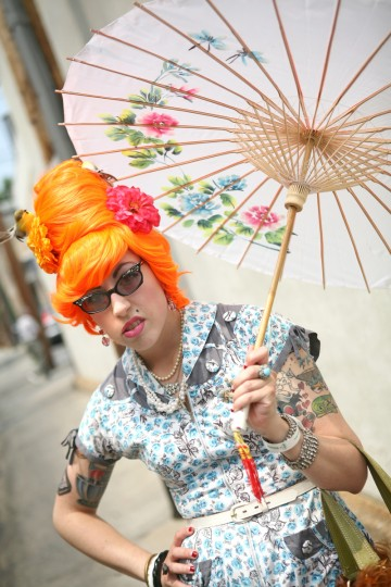 Stacy Bucklew sported an umbrella at Honfest 2011. (Joe Soriero/Baltimore Sun)