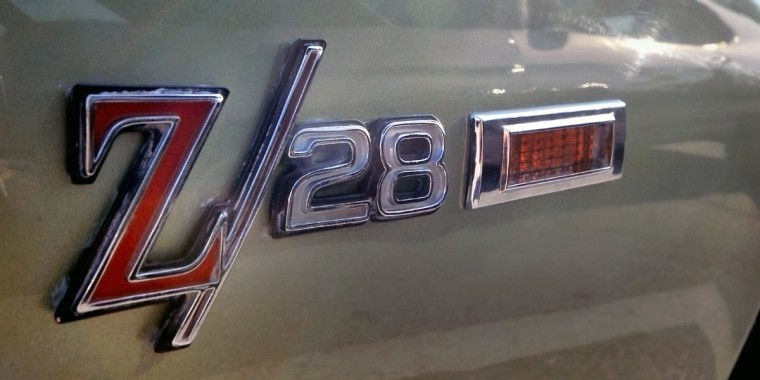 "In 1966 you could have a Camero or you could have a Z/28 Camero and be the envy of every ""car guy"" on your block. This is the front fender logo on one of the Z/28 Camero's that were on display. (Gene Sweeney Jr./Baltimore Sun)"
