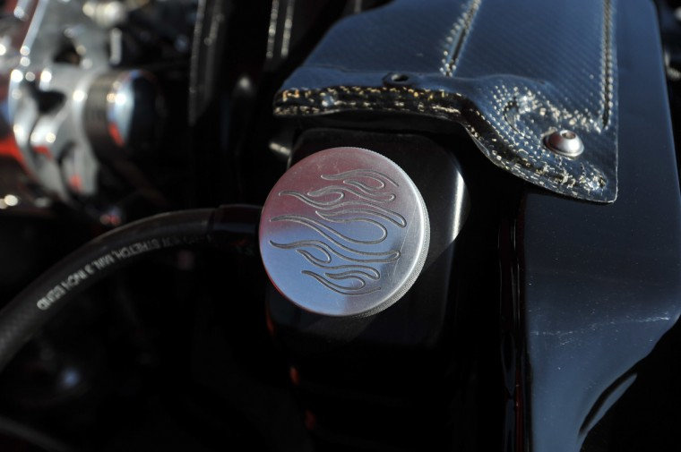 "An aluminum radiator cap that has had ""flames"" cut into it for a design touch. (Gene Sweeney Jr./Baltimore Sun)"