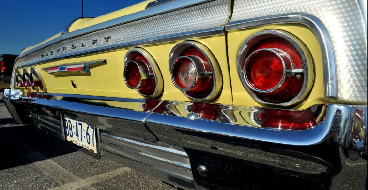 The chrome and tail lights of a 1964 Impala rear end are on display Saturday morning. (Gene Sweeney Jr./Baltimore Sun)