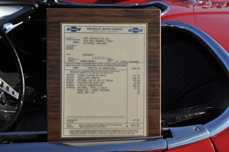 """Corvette Steve"" is the 2nd owner of this immaculate 1962 Corvette. The framed ""sticker"" shows the price of this true American sports car, in 1962, was under $5000.00. Today the car is worth over $100,000. (Gene Sweeney Jr./Baltimore Sun)"