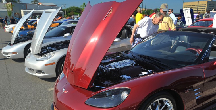 A 2006 Corvette Z51 leads off a row of the Chevrolet sports car and this modified car had plenty to see under the hood for the onlookers.(Gene Sweeney Jr./Baltimore Sun)