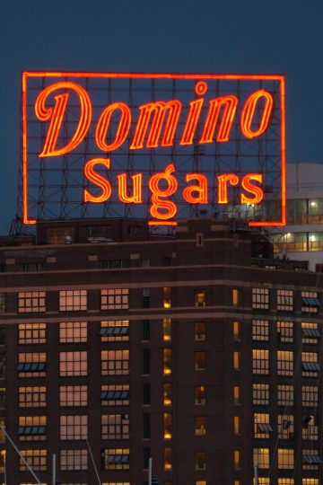 "At 40 feet high, the ""D"" is the biggest letter in the 120-foot x 70-foot Domino Sugars sign. (Karl Merton Ferron/Baltimore Sun Photo)"