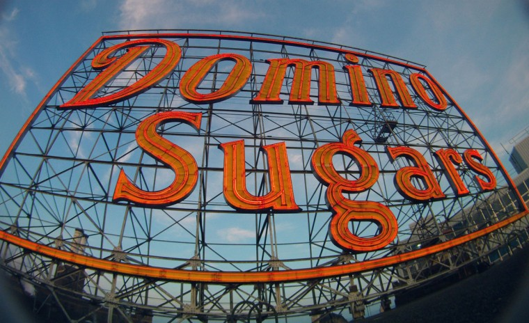 A close-up of the 120-foot x 70-foot Domino Sugars sign in the daylight. The entire square footage of the Camden Yards infield (8,100 sq. ft.) would fit within the Domino Sugars sign (8,400 sq. ft.). (Karl Merton Ferron/Baltimore Sun Photo)