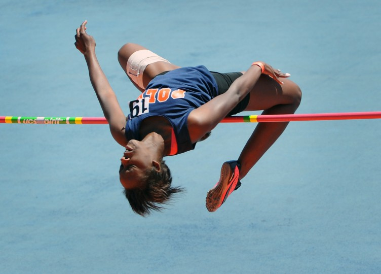 "Poly High's Tabitha Pyatt, missed on an attempted jump but won the Class 4A girls high jump competition with a jump at 5'4"" in the Maryland State Class Track and Field Championships at Morgan State University. (Kenneth K. Lam/BSMG)"