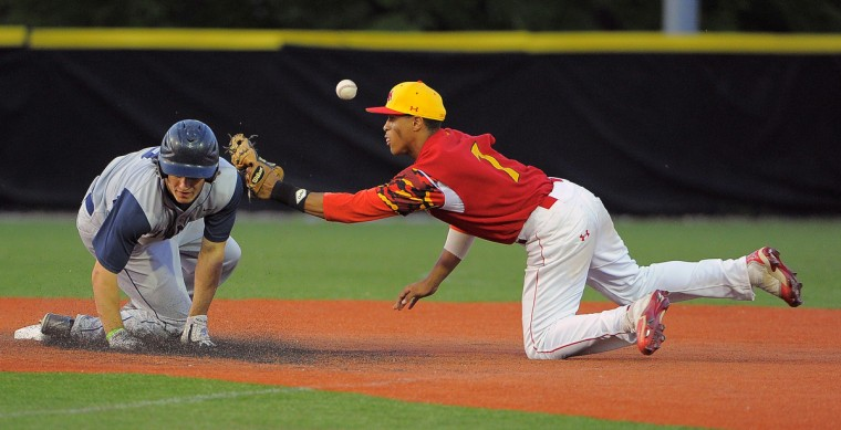 short stop Richard Rodriguez in the fourth inning of the MIAA varsity baseball playoffs. (Karl Merton Ferron/BSMG)