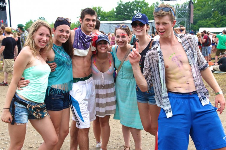 Alex Bosenberg, 19; Hannah Suits, 19; Tyler Leone, 19, Sarah Greeley, 19; Anna Foley, 19; MaryKate Oleksiak, 19; and Nick Slavtcheff, 19, all from Connecticut, attended the Firefly Music Fesitval in Dover, Delaware June 23, 2013. (Credit: Kaitlin Newman for The Baltimore Sun)