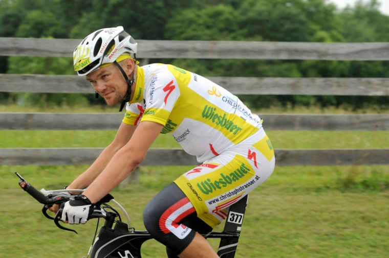 Austrian Christoph Strasser rides a rural road in Montgomery County on the final day of his record setting Race Across America. Strasser won the bicycle race from Oceanside, California to Annapolis, Maryland, completing the 2989 mile distance in 7 days, 22 hours, and 11 minutes. (Jerry Jackson/Baltimore Sun)