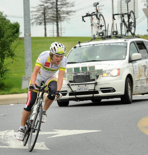 Austrian Christoph Strasser navigates a traffic circle in Scaggsville on the final day of his record setting Race Across America. (Jerry Jackson/Baltimore Sun)