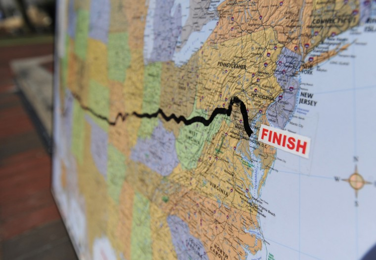 The route of the 2013 Race Across America is displayed on a map at the finish line in Annapolis. (Jerry Jackson/Baltimore)