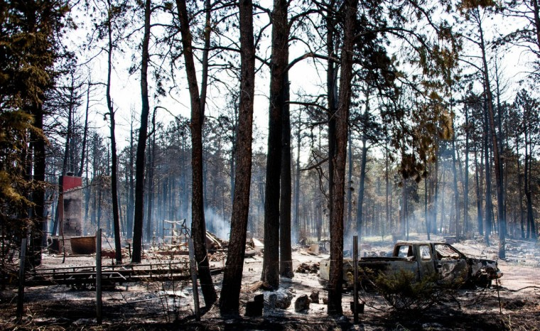 A structure off Herring Road burns to the ground in Colorado Springs, Colorado. An estimated 360 homes have been destroyed as the Black Forest fire roared through Colorado. (Michael Ciaglo/Colorado Springs Gazette/MCT Photo)