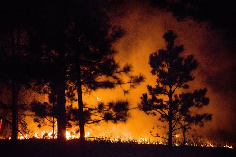 Flames continue to burn through the night into early Thursday morning, June 13, 2013, as crews work to contain the Black Forest fire in Colorado Springs, Colorado. (Michael Ciaglo/Colorado Springs Gazette/MCT Photo)