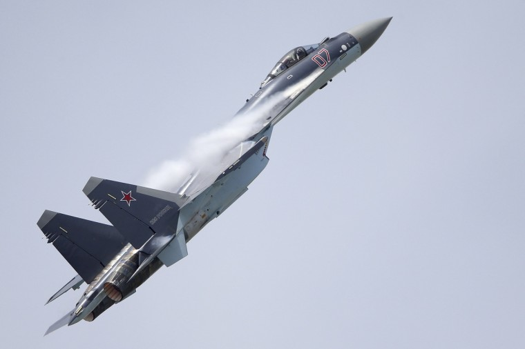 A Sukhoi SU-35 fighter aircraft takes part in a flying display, during the 50th Paris Air Show, at the Le Bourget airport near Paris, June 18, 2013. (Pascal Rossignol/Reuters)