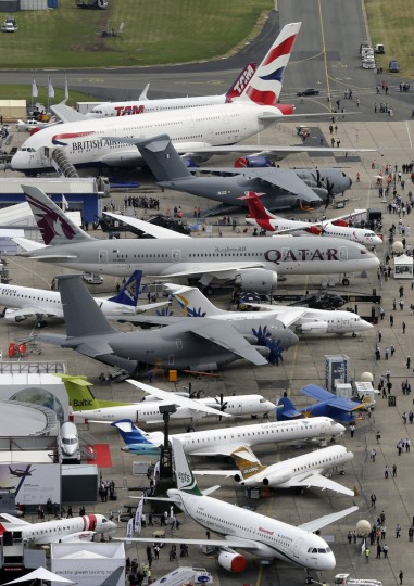 An aerial view of the 50th Paris Air Show, at Le Bourget airport near Paris, June 18, 2013. (Pascal Rossignol/Reuters)